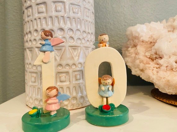 Vintage Sevi Italy Wooden Numbers With Angels--Wooden Birthday Numbers