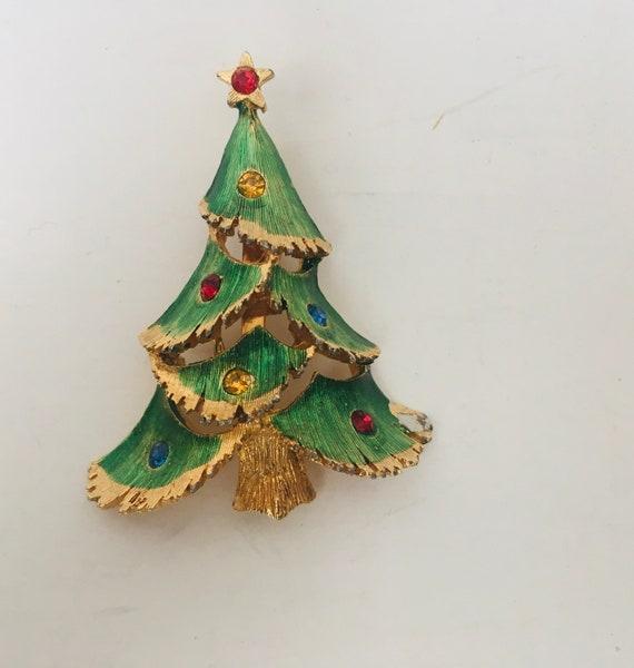 Vintage Multi-Color Rhinestone Christmas Tree Brooch
