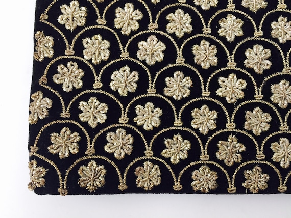 Vintage Velvet Clutch With Metallic Tread Embroidered Flowers