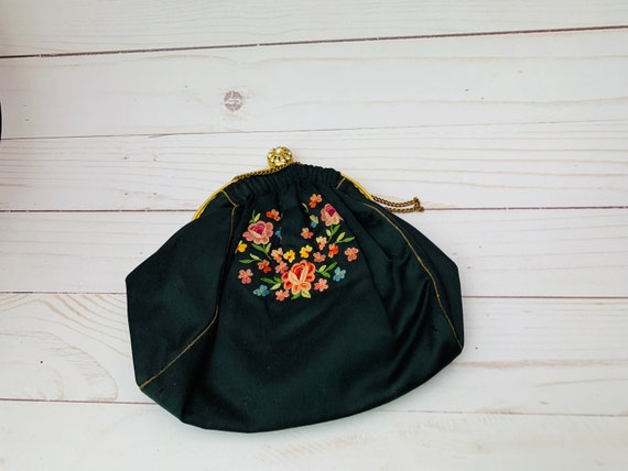 Vintage Made In France Embroidered Handbag