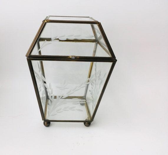 Vintage Brass & Glass Jewelry Box