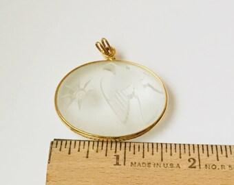 Vintage Translucent 3D Bird Pendant/Carved Pendant/Translucent Pendant/Frosted Glass Pedant/Oval Pendant/Bird Pendant/Unique Pendant