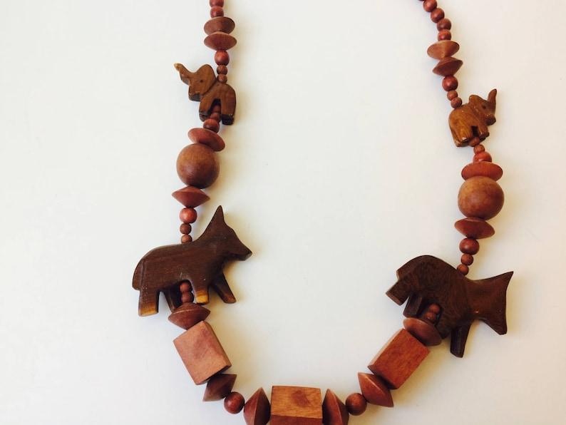 Vintage Wood Bead Animal Necklace