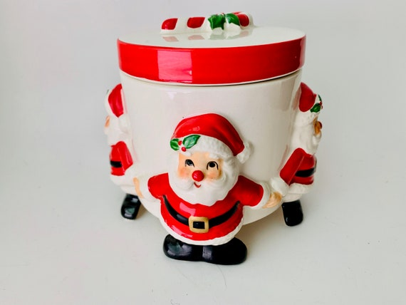 1977 Fitz and Floyd Christmas Santa Container With Lid