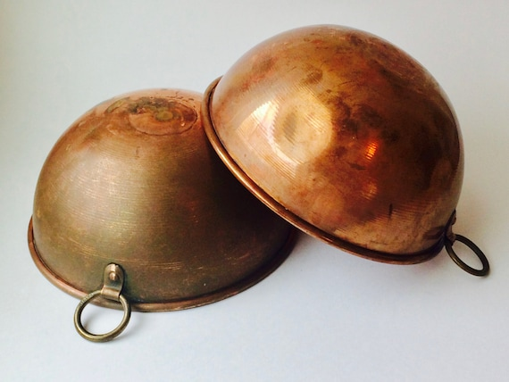 Vintage Italian Copper Mixing Bowls--Copper Bowls--Copper Kitchen Decor
