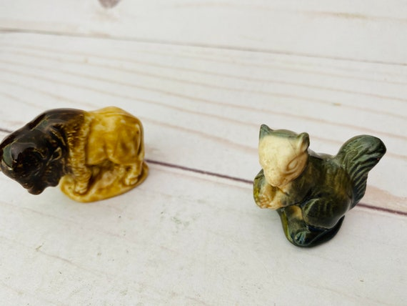 Vintage Wade England Mini Animal Figurines- Wade England- Wade Buffalo- Wade Squirrel