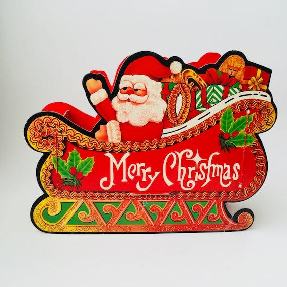Vintage 3D Cardboard Paper Santa Sleigh Decoration