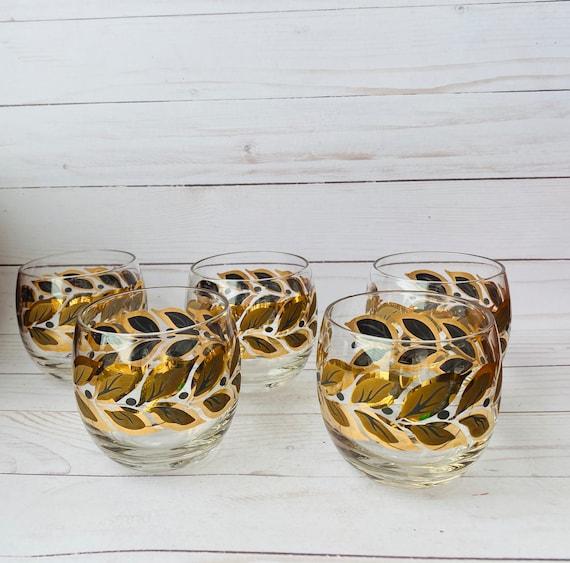 Federal Glass Set of 5 MCM Barware Glasses--Vintage Barware