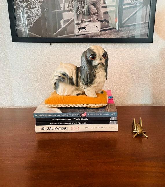 Vintage Big-Eyed Dog On Cushion--Pekingese