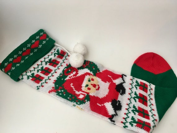 Vintage Machine knitted Santa Christmas Stocking