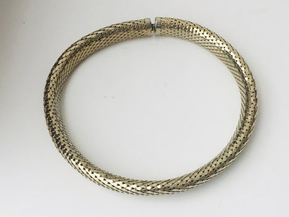 Snake Mesh Choker Necklace, Gold Tone