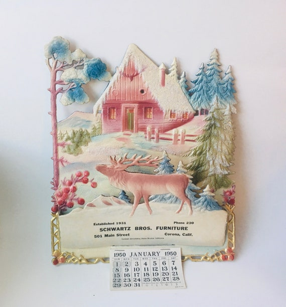 Cardboard Calendar - 1950s Promotional Giveaway - Made in Czechoslovakia