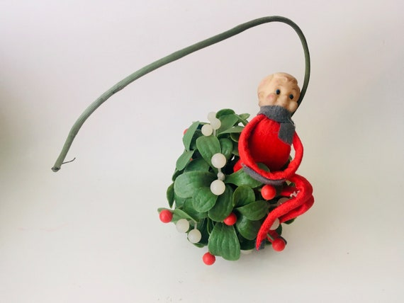 Vintage MCM Mistletoe Ball With Christmas Elf