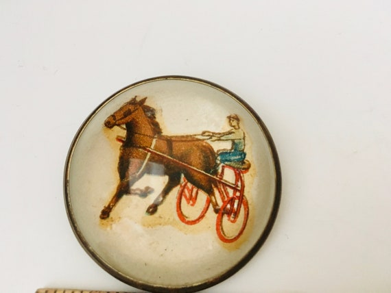 Vintage Convex Domed Brooch With Horse & Carriage