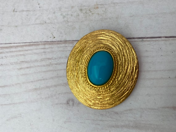 Vintage Gold & Turquoise Brooch