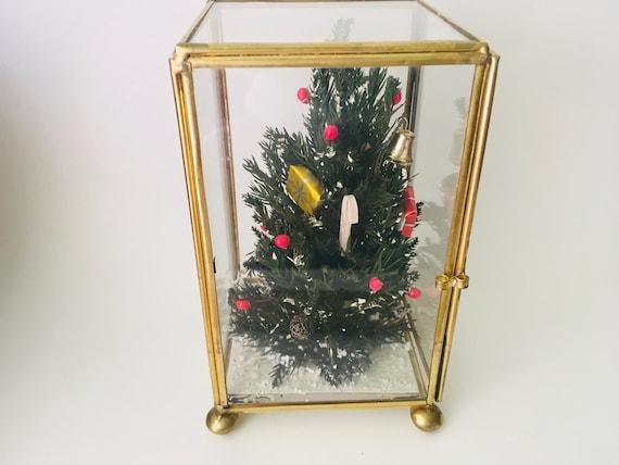 Vintage Christmas Tree Inside A Brass And Glass Display Box