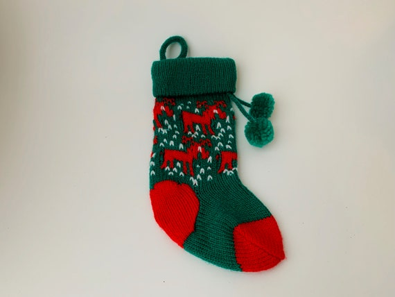 "Vintage Mini 7 1/2"" Christmas Stocking With Reindeer/Vintage Mini Christmas Stocking/Vintage xmas/Reindeer Stocking/Baby's First Stocking"