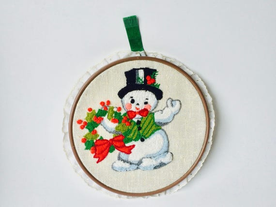 Vintage Embroidered Frosty The Snowman