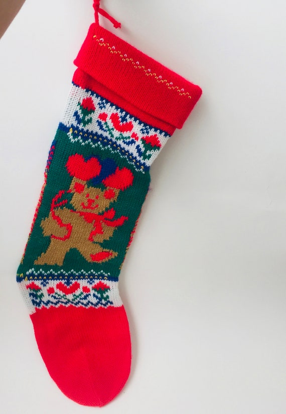 Vintage Machine knitted Teddy Bear & Hearts Christmas Stocking