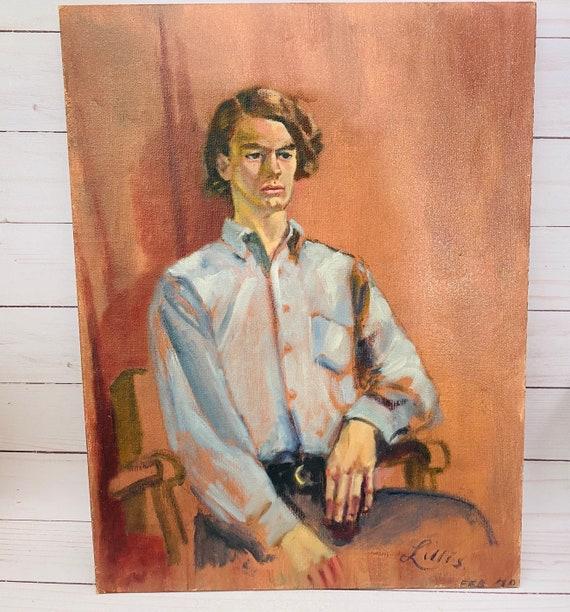 Vintage Original Portrait Painting Of A Man--Vintage Portrait