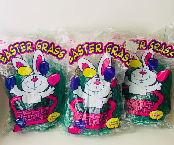 Easter Grass Bags - Lot of 3 - Vintage Easter Unlimited