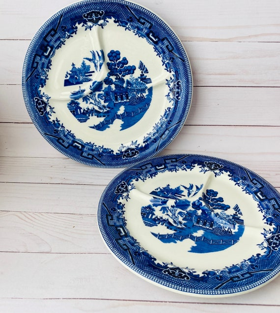 Pair Of Blue Willow Shenango Divided Grill Plates--Chinoiserie Plates--Divided Plate