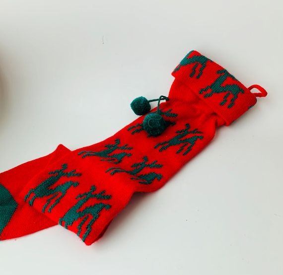 Vintage Reindeer Christmas Stocking