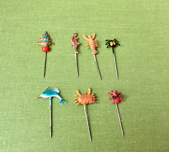 Stick Pins With Animal Figures - Lot of 7 Vintage Tiny Metal