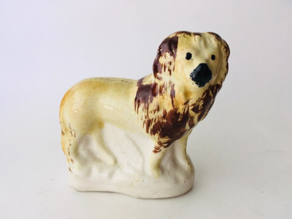 Antique Staffordshire Lion Figurine