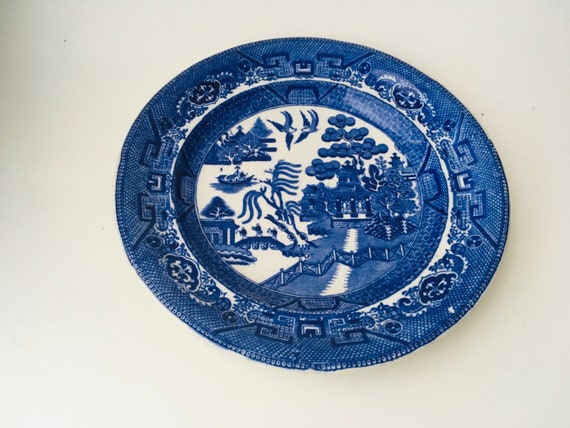 Vintage Warranted Staffordshire I.M.U.S Blue & White Chinoiserie Plate