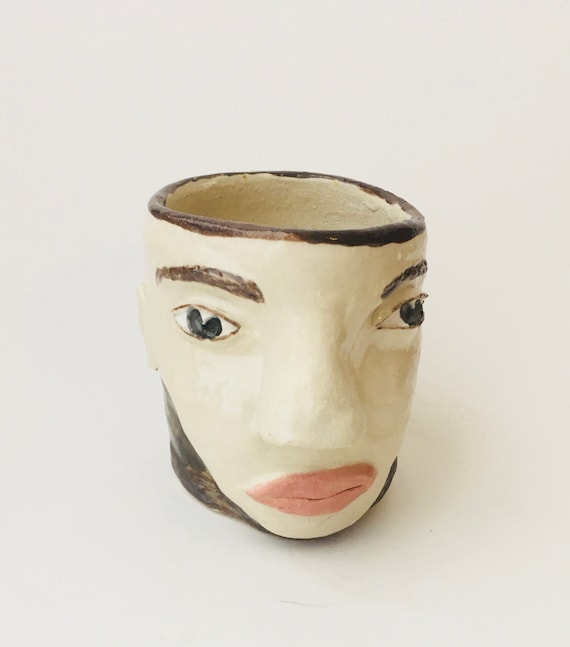Handgefertigte Keramik Kopf Geformt Ubertopf Kopf Geformt Etsy