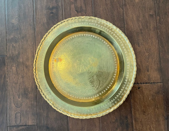 Vintage Round Brass Tray--Round Tray--Brass Tray--Coffee Table Tray