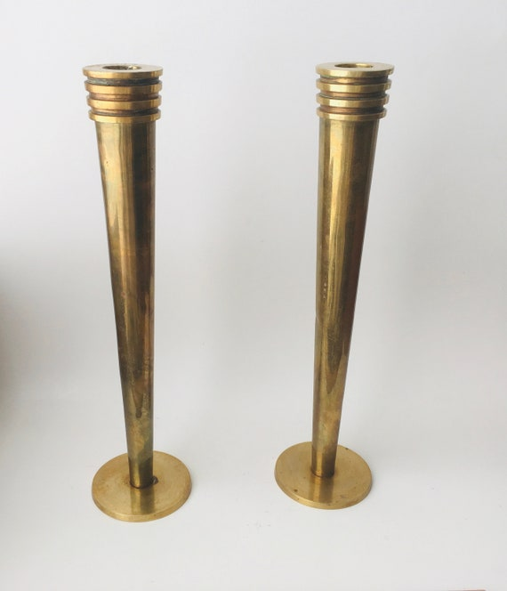 Vintage Pair Of Brass Taper Candle Holders