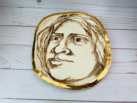 Handmade Ceramic Tray With Mans Face--Portrait