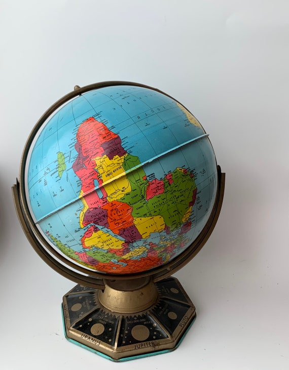 Vintage J. Chein Metal World Globe