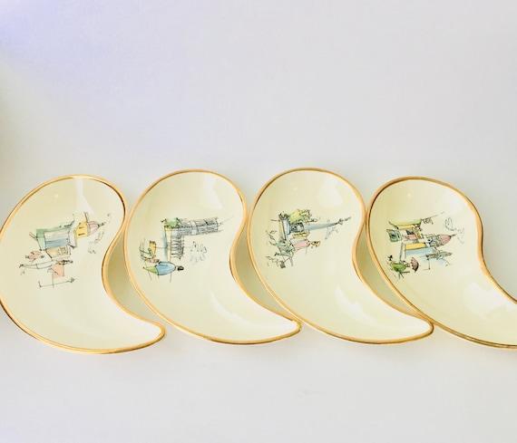 Set Of 4 Waechtersbach Made In Germany London Scenes Fish Bone Dishes