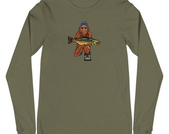 Trout Huntin' Squatch - Unisex Long Sleeve Tee