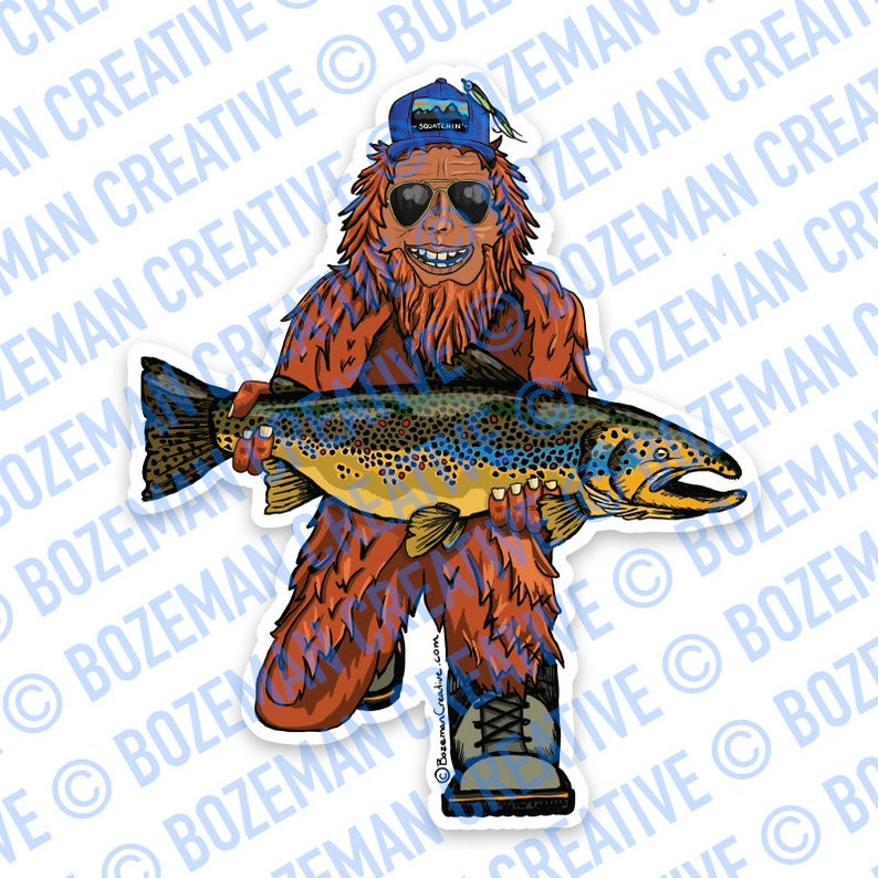 Trout Huntin' Squatch Sticker image 0