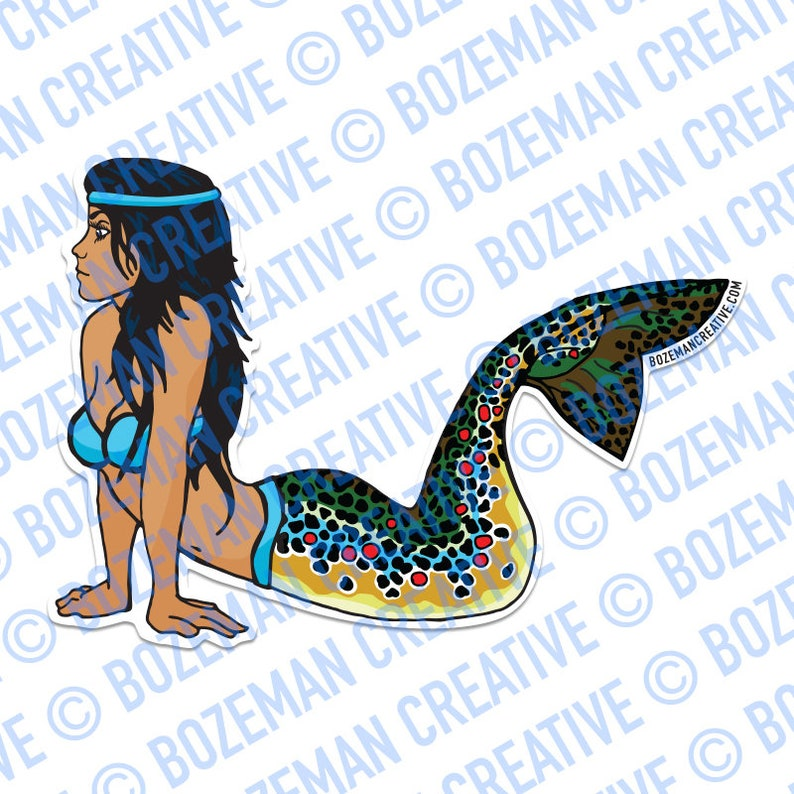 Mertrout  Mermaid Brown Trout Sticker image 0