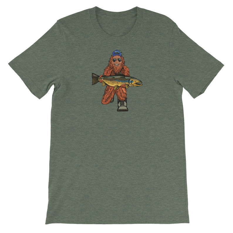 Trout Huntin' Squatch  Short-Sleeve Unisex T-Shirt Heather Forest