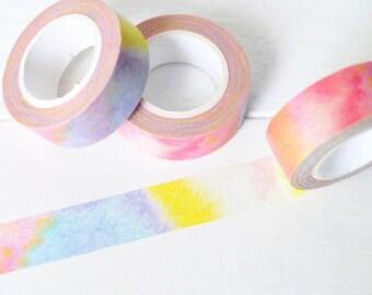 Watercolor Washi Tape. 15mm x 10m. Multi Color Washi Tape. Pretty Washi Tape. Planner Washi Tape. Colorful Washi Tape.