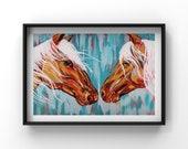 Horse Lovers, Fine Art Print, Wall Art, Equine, Art of Zoo, Horse Lover Gift, Home Decor, Spirit Animal, Blue Horse Print by RMH ART