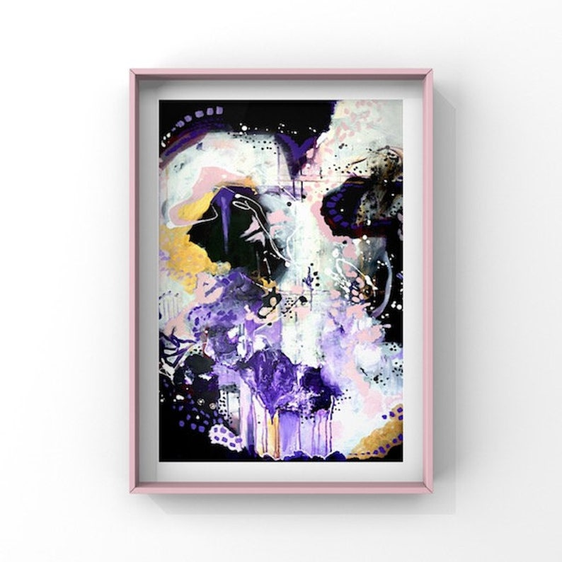 Abstract Art, White, Purple, blush pink abstract art print, modern abstract  wall art, abstract artwork, Australian artist by RMH ART