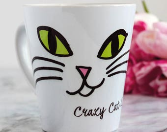 Cat lover's Personalised Latte Mug, coffee lover, Cat fan, crazy cat lady, latte mug, gift for a friend, pet gift, cat present, cat gift