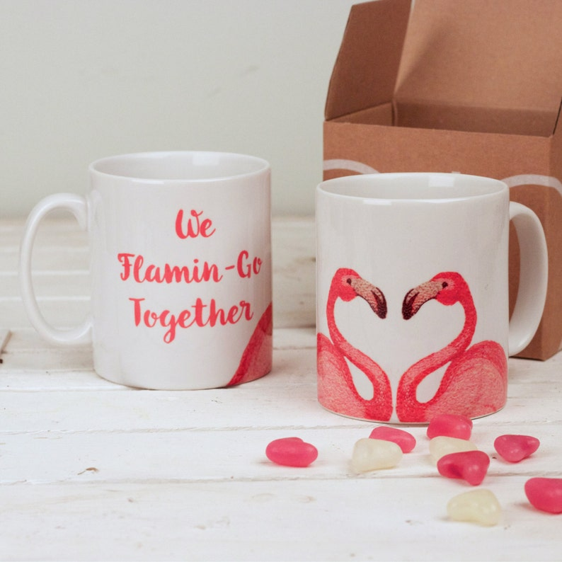 bc581a059a4 Kissing Flamingo Mug, Romantic Flamingo Mug, Flamingo Wedding Present,  Flamingo Engagement Gift