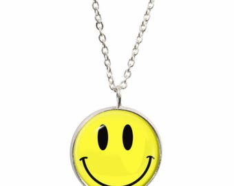Smiley face necklace etsy smiley face pendant and silver plated necklace aloadofball Choice Image