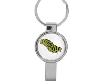 Black Swallowtail Caterpillar Image Black Leather Keyring in Gift Box