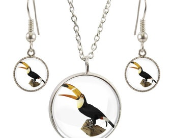 Twitches pendants etsy toucan image on silver plated pendant necklace and earring set aloadofball Images