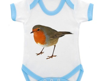 eb34287c84524 Robin digitally printed image Babygrow - 5 colours & 3 sizes available
