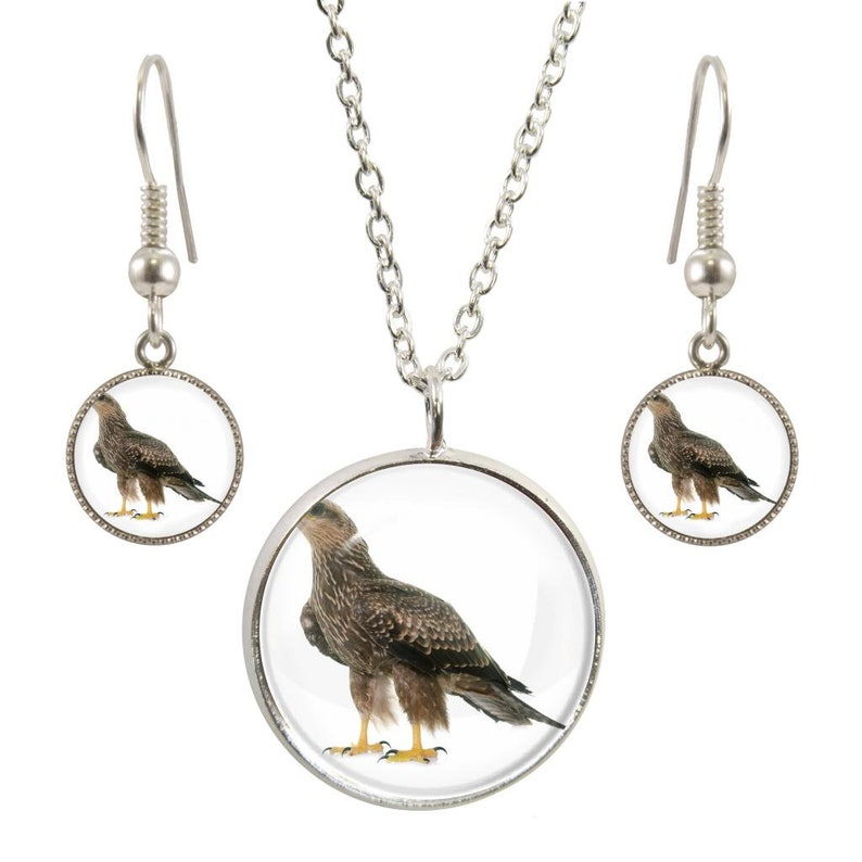 Buzzard Puppy Image On Silver Plated Pendant Necklace and Earring Set